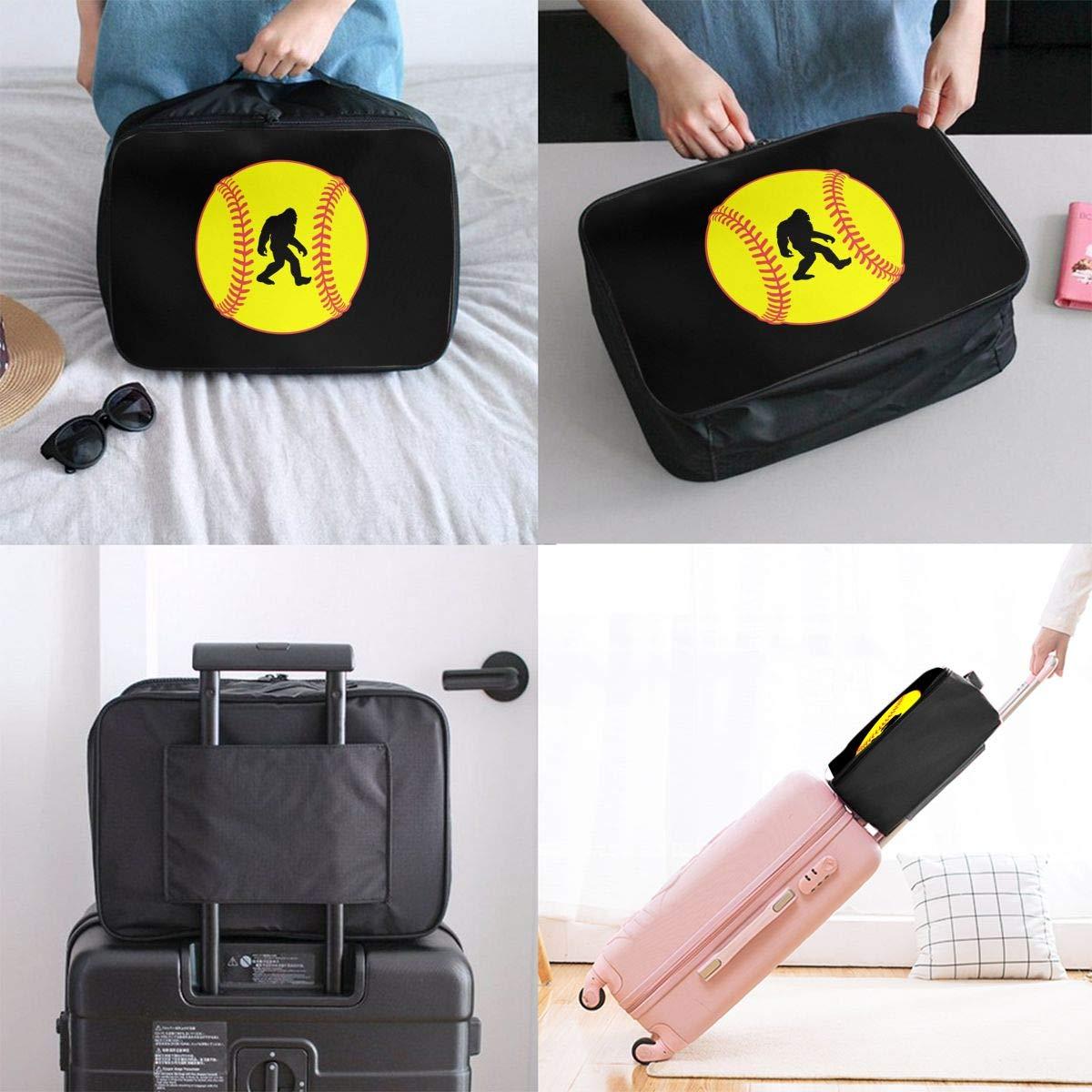 Travel Bag Softball Sasquatch Bigfoot Waterproof Large Capacity Portable Luggage Bag
