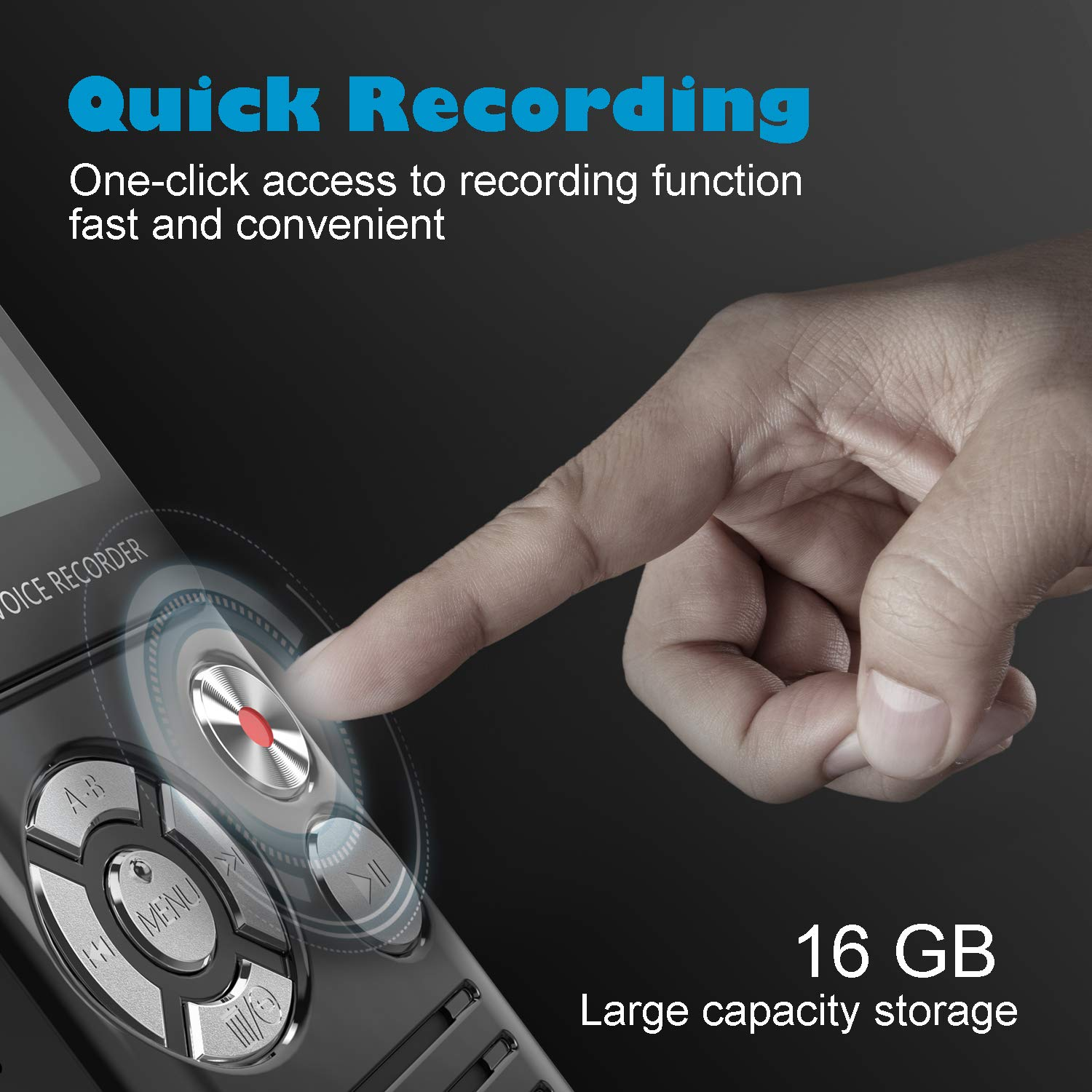 Digital Voice Recorder, HOMIEI 16 GB Voice Activate Recorder/ MP3 Player Rechargeable, HD Audio Recorder with Dual Intelligent Noise Reduction Microphones, for Meetings/Interviews/ Lectures/Class