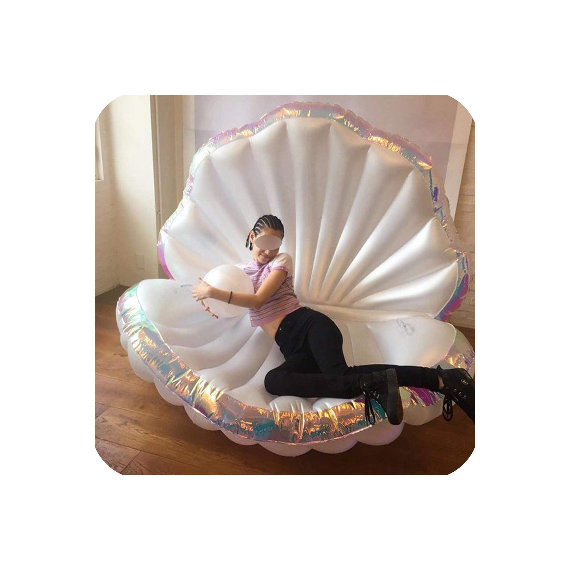Giant Shell with Pearl Inflatable Pool Float Seashell Scallop Air Mattress Swimming Ring for Adult Women Beach Lounger Water Toy,Red by Sweet But Psycho Pool Infloats