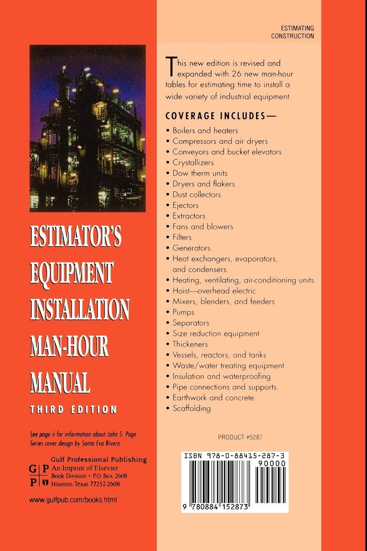 Estimator's Equipment Installation Man-Hour Manual: John S. Page:  9780884152873: Books - Amazon.ca