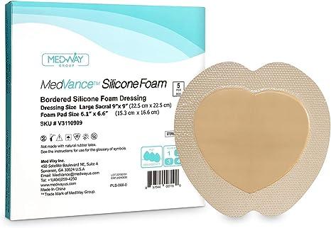 MedVanceTM Silicona - Apósito de espuma adhesiva de silicona con borde Tamaño sacro 22.5 cm x 22.5 cm (almohadilla de 12.8 cm x 13.5 cm), Caja de 5 apósitos: Amazon.es: Salud y cuidado personal