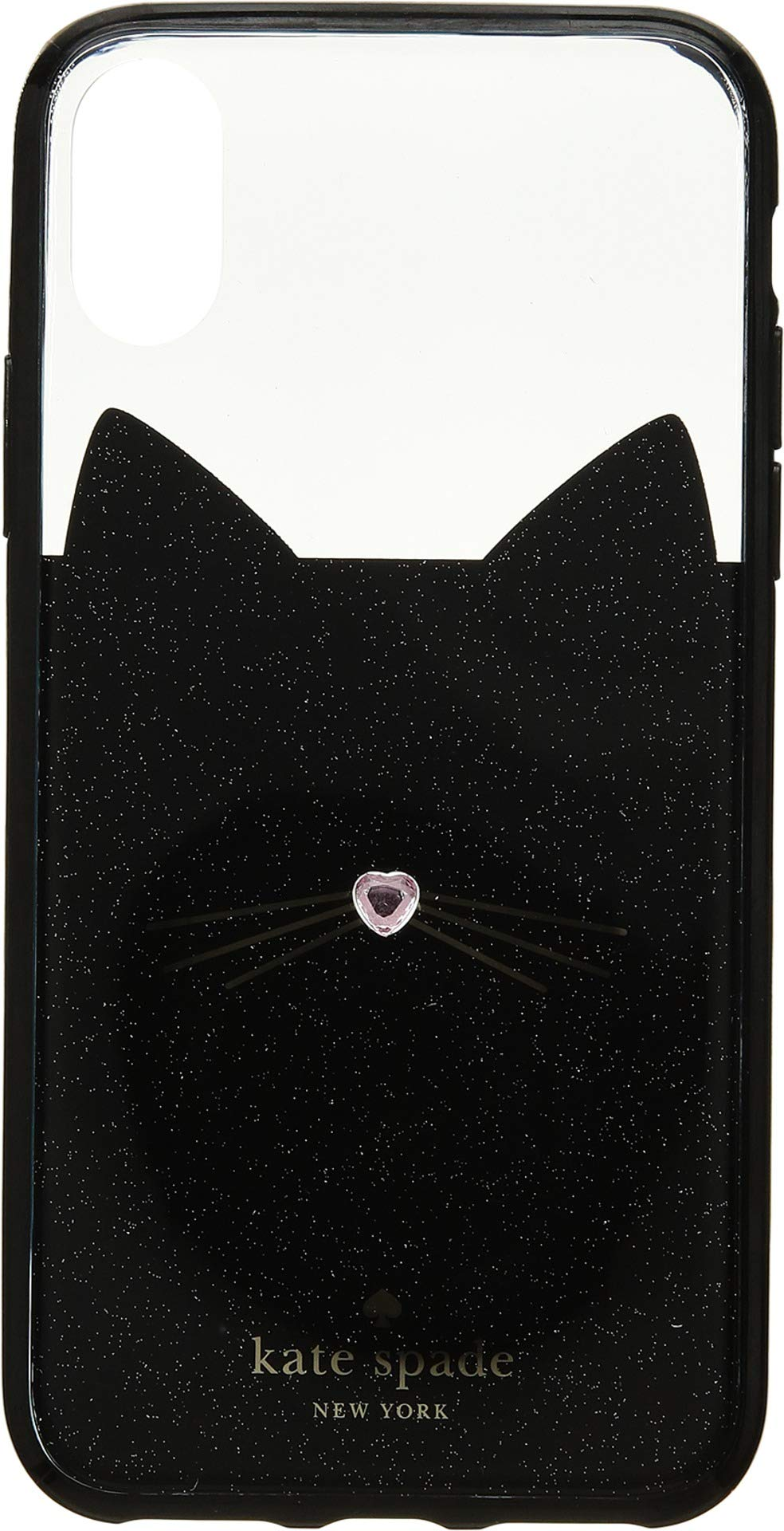 Kate Spade New York Women's Jeweled Glitter Cat iPhone Case for iPhone X Black/Multi One Size