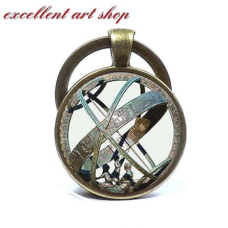 Astronómico reloj de globo llavero llavero de astronomía Aqua bronce Vintage astrológico llavero astronomía ciencia Llavero