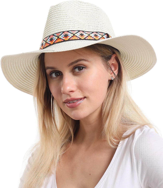 Travel Hat for Summer Unisex Foldable Panama Hat Fedora Beach Hat Sun Hat