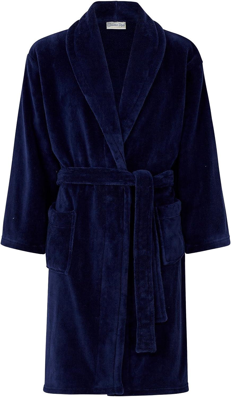 Walker Reid Bath Robe Mens Wrap Around Luxury Fleece Dressing Gown Shawl Collar