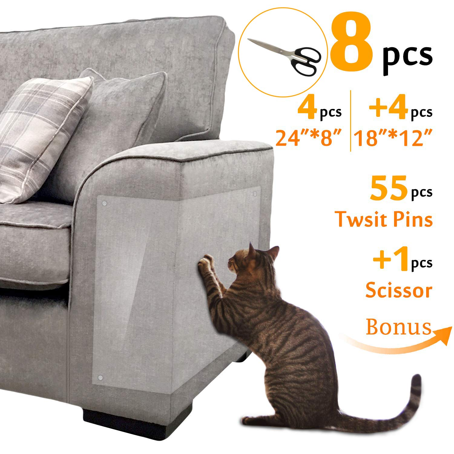 Hake's Toys Furniture Protectors from Cats  Couch Cover  Scissors of Bonus  4pcs 24''L8''W+4pcs 18''L12''W+55pcs Twist Pins  Best Cat Scratch Deterrent for Leather Sofa Door and Chair by Hake's Toys