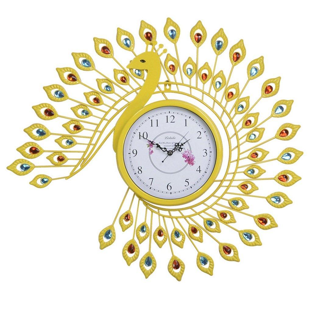JCRNJSB® ファッションクロック孔雀の壁時計、時計のリビングルームミュートの寝室の装飾ヨーロッパスタイルのレトロな創造的な芸術の壁時計の時計65x73cm 壁掛けサスペンション クロックウォールクロック クォーツ時計 (色 : #5) B07CVTQGGK #5 #5