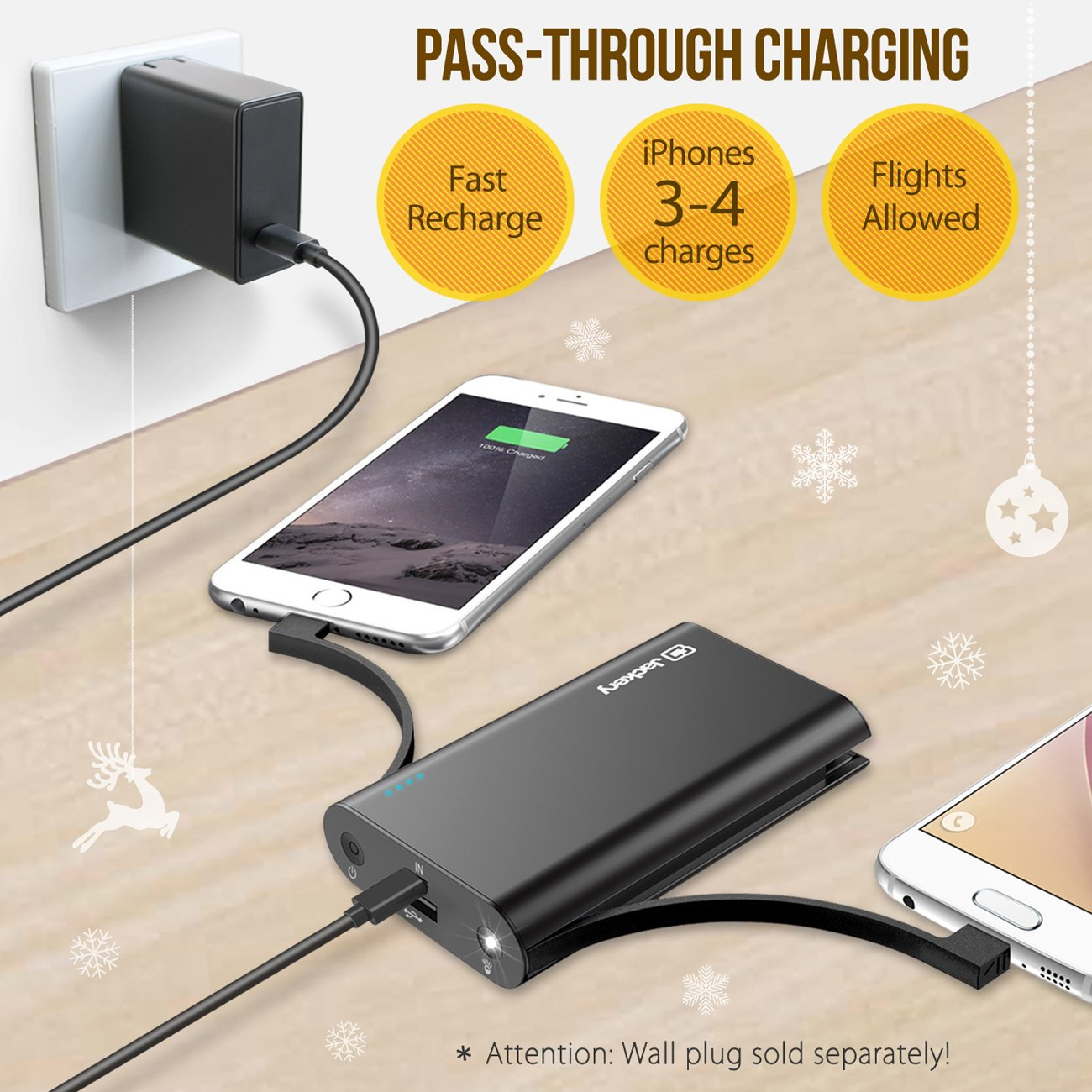 Jackery Bolt 10050mAh Power Bank, Portable Charger with Built-in [MFi certified] Lightning Cable External Battery Pack for iPhone X, iPhone 8/8Plus etc, TWICE as FAST as Original iPhone Charger by Jackery (Image #5)