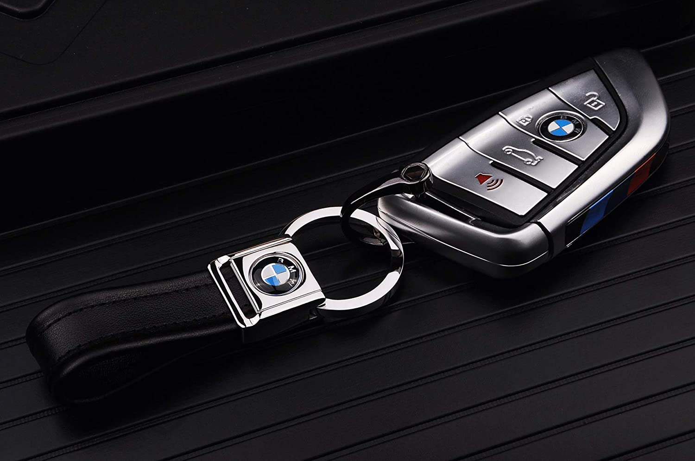 Cadtealir Llavero de acero inoxidable con detalle de oro de 18 quilates con correa de piel de napa de grano entero Llavero anillo para coche para Land Range Rover