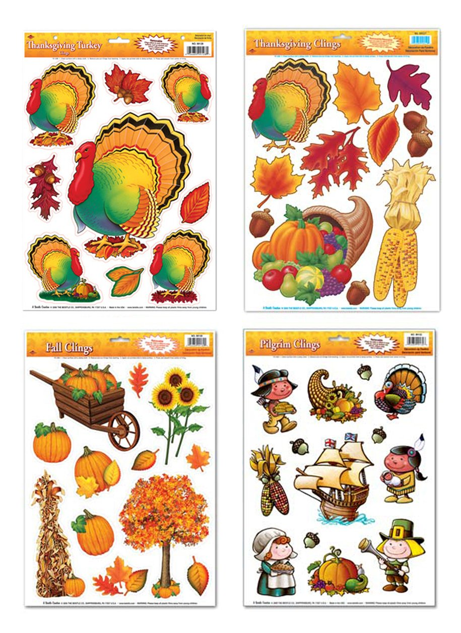 Thanksgiving Window Cling Decorations - 4 Large Sheet Sets Featuring Turkeys, Pilgrims, Leaves, Pumpkins, Cornucopia and Other Fall Themes Holiday Designs
