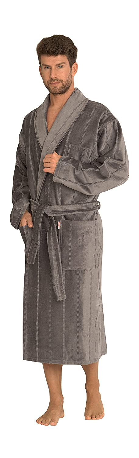 Forex Mens Soft Warm Comfortable Cotton Self Tie Long Bathrobe Dressing Gown Loungewear Robe Twin Frotte/803