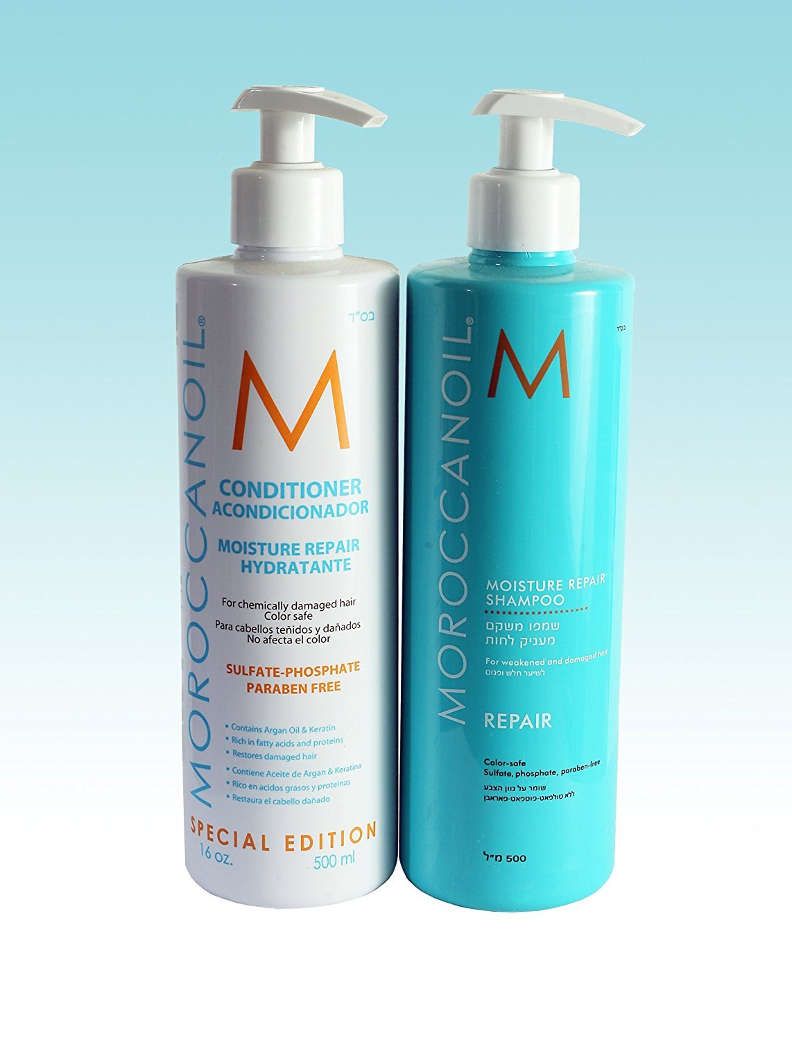 Moroccan Oil Limited Edition 500ml Set - Moisture Repair Shampoo 500ml & Moisture Repair Conditioner 500ml MoroccanOil
