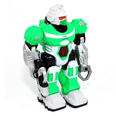 Env Toys Power Warrior LED Light Up and Walking Super Robot Action Figure - Green: Toys & Games