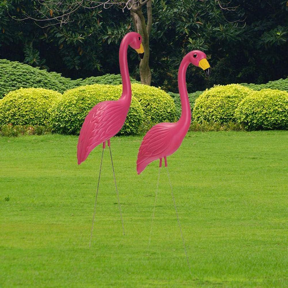 Loveinwinter 2 Piezas Flamenco Jardin,56X24cm Decoraciones De Jardín Vivid Rosa Flamingo,Simulacion Plastica Decoracion Jardin Flamingo,Pink