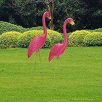 Loveinwinter 2 Piezas Flamenco Jardin,56X24cm Decoraciones De Jardín