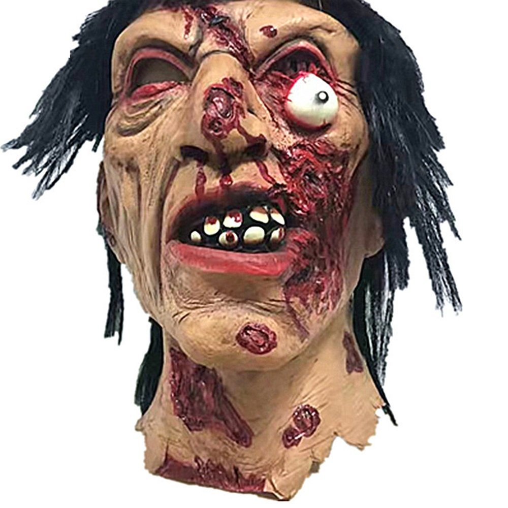 KTYX Horror Brunette Zombie Halloween Room Fuga Haunted House Whole Uomo Props Spaventoso Latex Zombie Ghost Mask Maschera