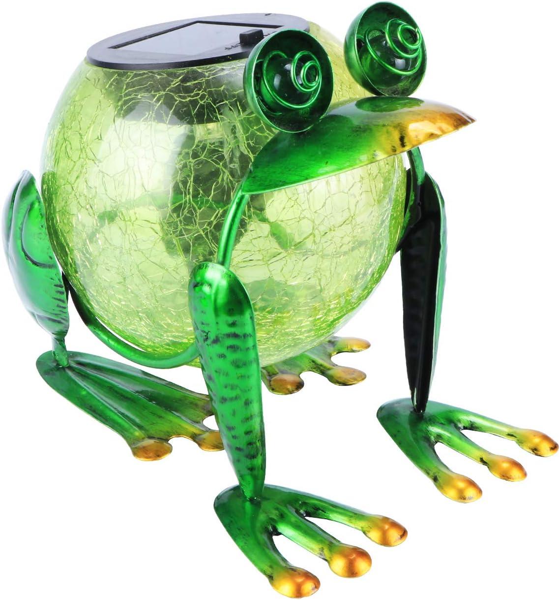 MUMTOP Solar Lantern Lights Outdoor Waterproof LED Solar Lights Frog Decorative Tabletop Lanterns for Patio Garden Table Decor