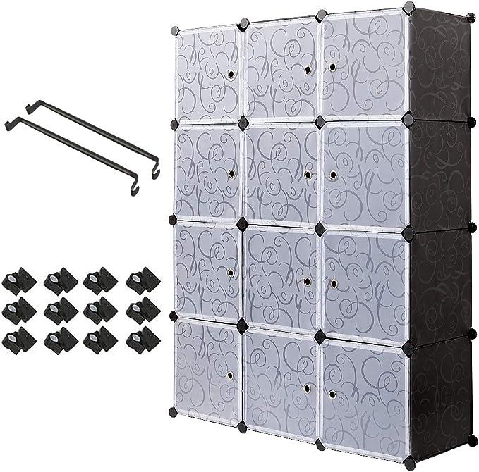 Meerveil Armario, Armario Portatil Armario Modular Tablero de Resina 12 Cubos con Puerta Almacenamiento para Ropa Libro Jugete 111x37x147 cm Negro: Amazon.es: Hogar