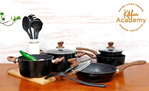 Kitchen Academy 15 Piece Nonstick Granite-Coated Cookware Set Suitable for All Stove Including Induction - Wooden Handle(Soft Touch)Dishwasher Safe - Black Hammered Style