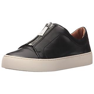 FRYE Women's Lena Zip Low Fashion Sneaker Black Polished Soft Full Grain 6 M US