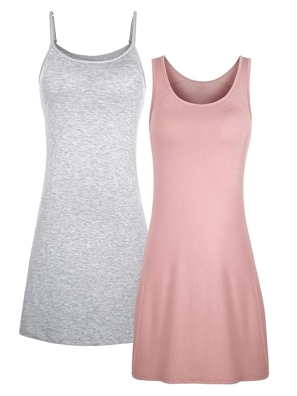 H HIAMIGOS Nightgowns Womens Cotton Night Shirts Sleeveless Sleep Dress 2 Pack