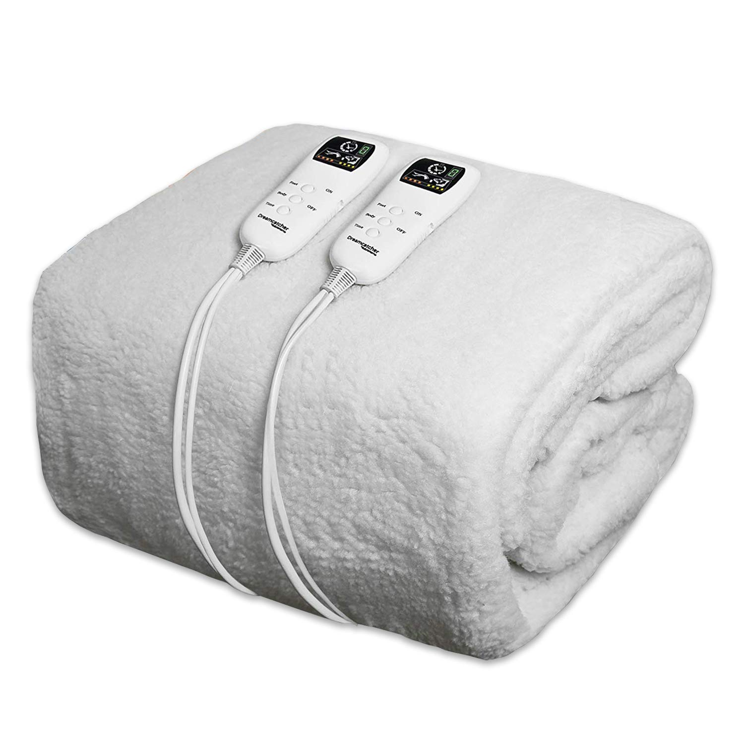 Dreamcatcher Super King Electric Blanket Premium Polar Fleece, SuperKing Size Bed 203 x 182cm, Electric Heated Blanket, Soft Fitted Underblanket with Dual LED Controllers, 8 Comfort settings, Timer Functionality and Machine Washable