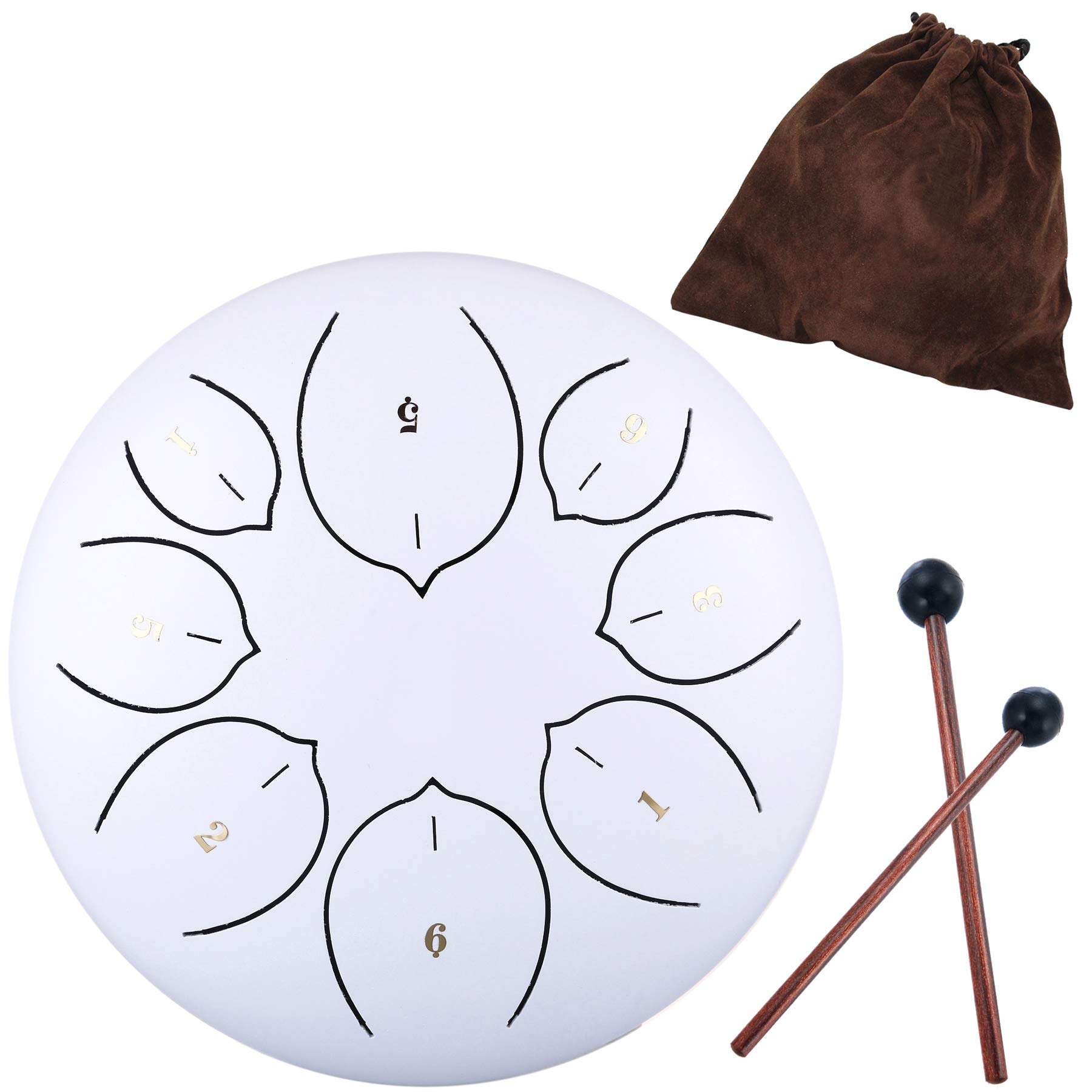 Lotus Handpan Tongue Drum 8 Notes 6 Inches Chakra Tank Drum Steel Percussion Hang Drum Instrument with Padded Travel Bag and Mallets White