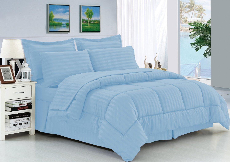 Elegant Comfort Wrinkle Resistant - Silky Soft Dobby Stripe Bed-in-a-Bag 8-Piece Comforter Set -Hypoallergenic - Full/Queen, Light Blue