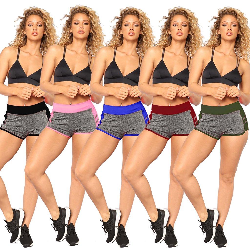 Dreamparis Women\'s Summer Casual Sports Shorts Patchwork Activewear Elastic Waist Workout Mini Short Pants Large Royal Blue
