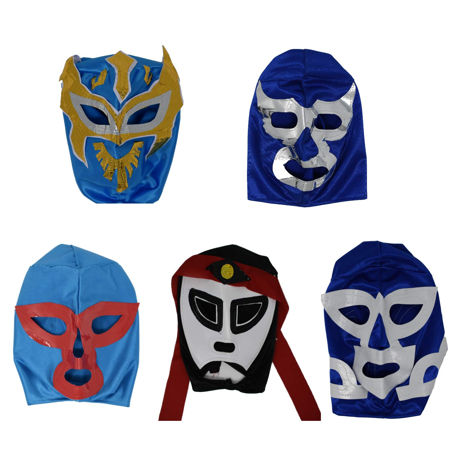Pack of 5 Mexican Wrestling Masks Ideal for Lucha Libre Parties (Children's Size) Made in Mexico