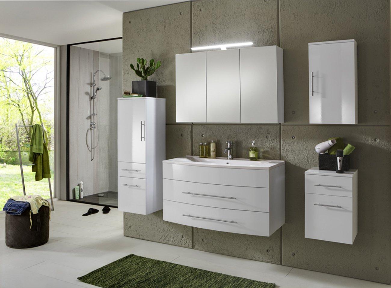 SAM® Badmöbel-Set Basel 5 teilig, hochglanz weiß, 100 cm ...