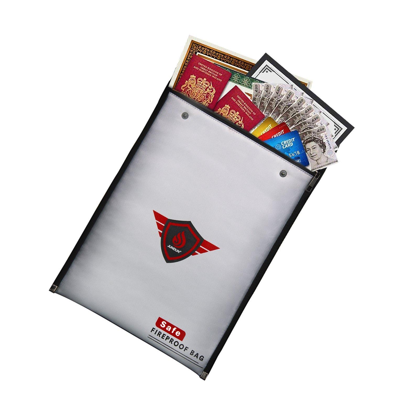 Fireproof Document Bags, A4 Size Waterproof and Fireproof Bag with Fireproof Zipper for iPad, Money, Jewelry, Passport, Document Storage JUNDUN fireproof bag with zipper