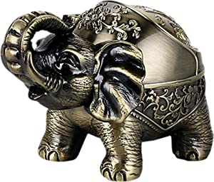 Decorative Windproof Ashtray with Lid Vintage Elephant Cigarettes Ashtray for Outdoors Indoors Metal Smoking Ashtray Fancy Gift for Men Women
