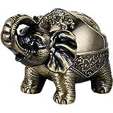 Decorative Windproof Ashtray with Lid Vintage Elephant Cigarettes Ashtray for Outdoors Indoors Metal Smoking Ashtray…