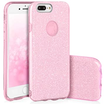 QULT Carcasa para Móvil Compatible con iPhone 7 Plus Funda Silicona Rosa Dura Bumper Teléfono Brillar Purpurina Caso para iPhone 7 Plus Pink