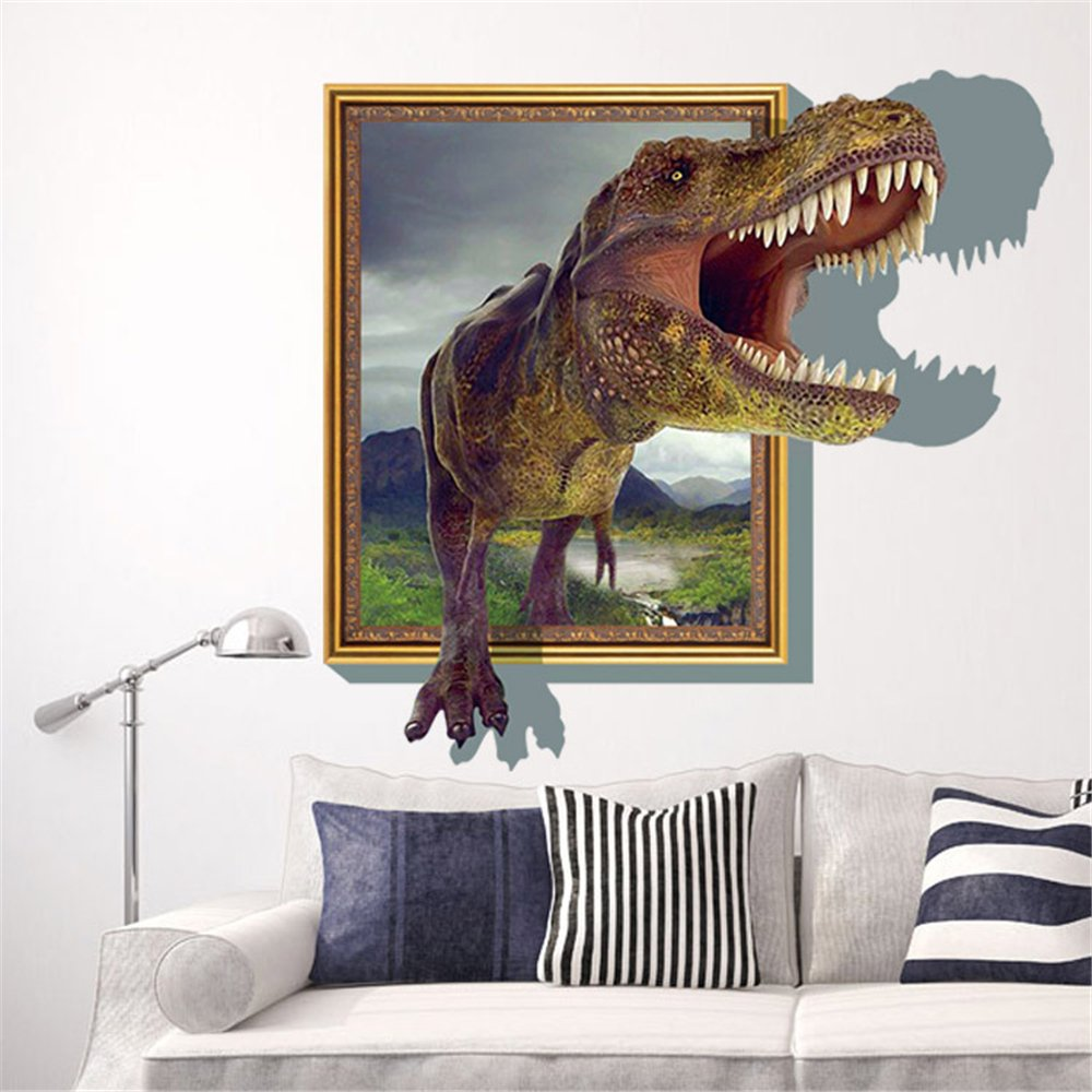 Sucis D Running Tyrannosaurus Rex Dinosaur Unique Removable Mural - 3d dinosaur wall decalsd dinosaur wall stickers for kids bedrooms jurassic world wall