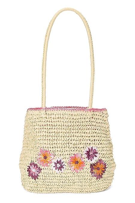 HatQuarters Straw Crochet Beach Handbag w Embroidered Flowers ...