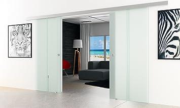 Puerta corredera con 2 láminas de cristal | Diseño: satén con 2 claras vertical de rayas