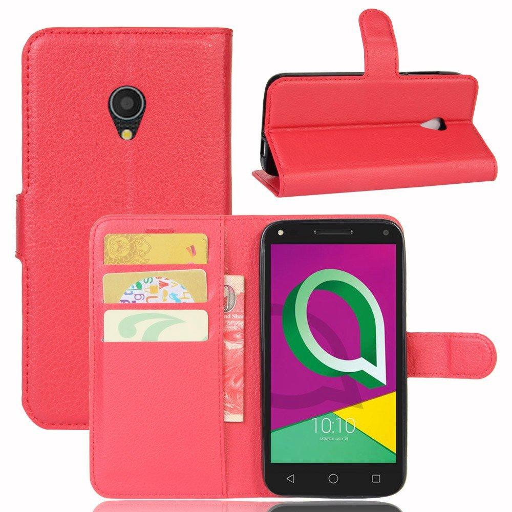 Guran® Funda de Cuero PU Para Alcatel U5 3G Smartphone Función de Soporte con Ranura para Tarjetas Flip Case Cover Caso-rojo Alcatel U5 3G-4