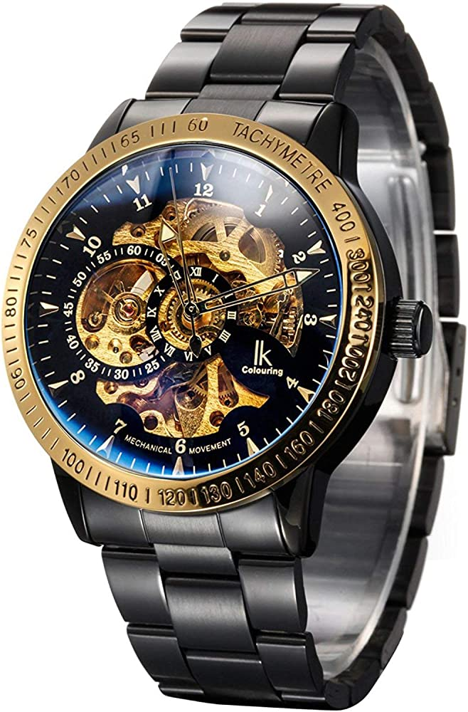 539a97979 Carrie Hughes Men's Steampunk Automatic Mechanical Discoloration Glass Skeleton  Stainless Steel Watch (88226GB)