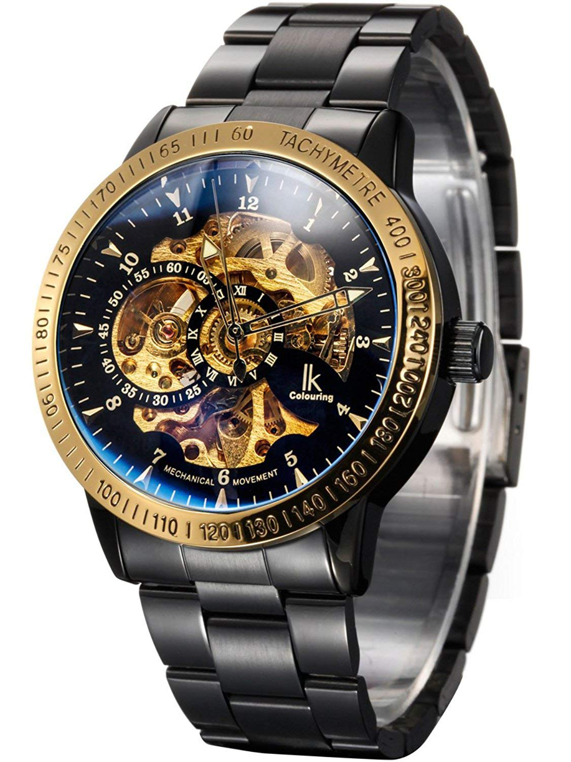 Carrie Hughes Men's Steampunk Automatic Mechanical Discoloration Glass Skeleton Stainless Steel Watch 3