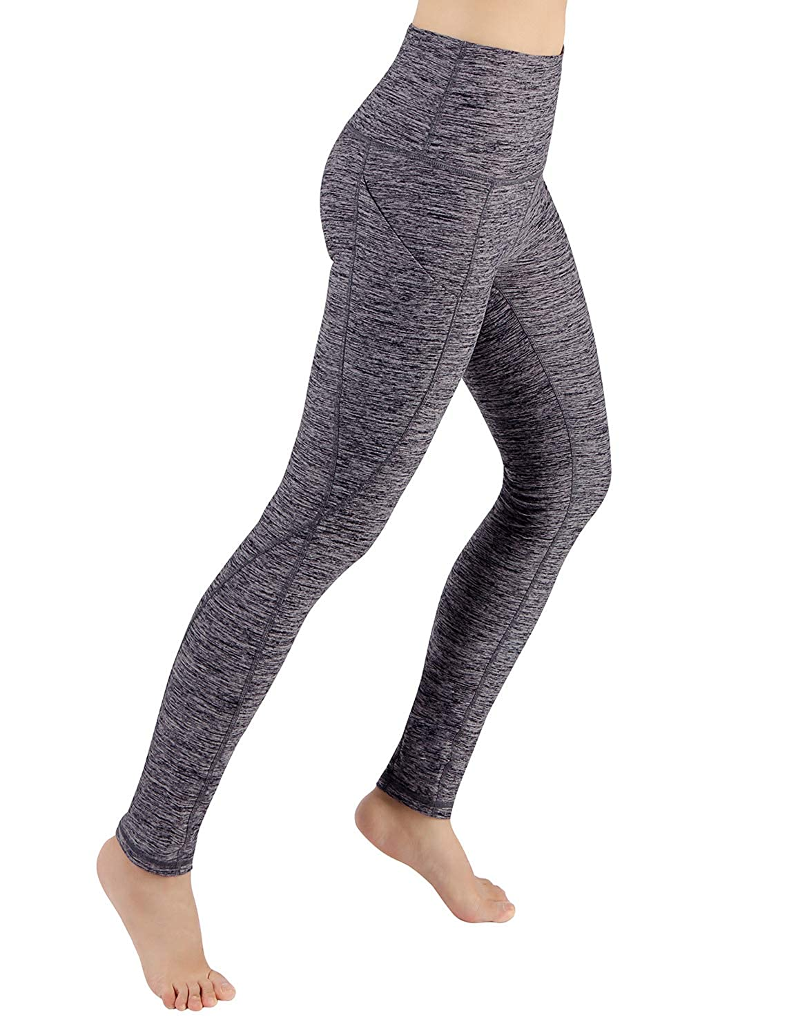 Yogapocketpants715navyheather XLarge ODODOS Power Flex Yoga Capris Pants Tummy Control Workout Running 4 Way Stretch Yoga