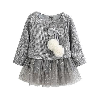 Ropa bebé Amlaiworld Recién Bebé Niñas Manga larga Tutú princesa vestido (0-6 Mes, Gris)