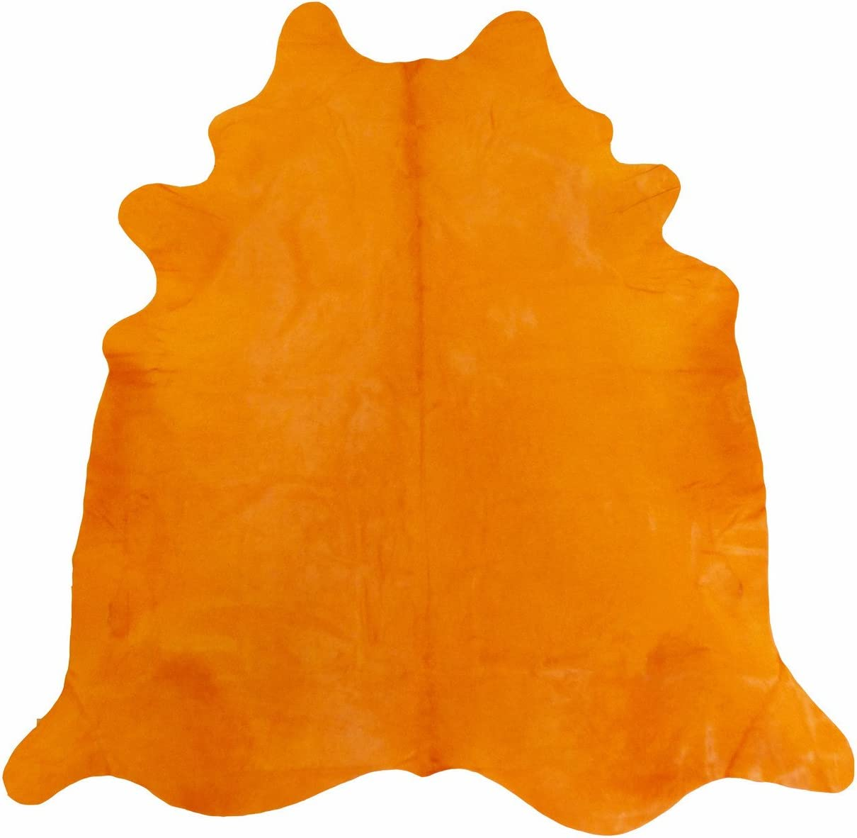 ecowhides Cowhide Rugs Color Dyed 7 ft x 7 ft Genuine Skin Leather Carpet - Area Rug for Home Office Orange