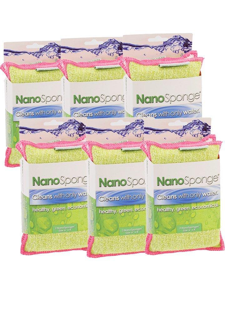 NanoSponge Supersized (6 pack: 6''x4'') - Heavy Duty Everyday Household Kitchen and Dish Sponge.