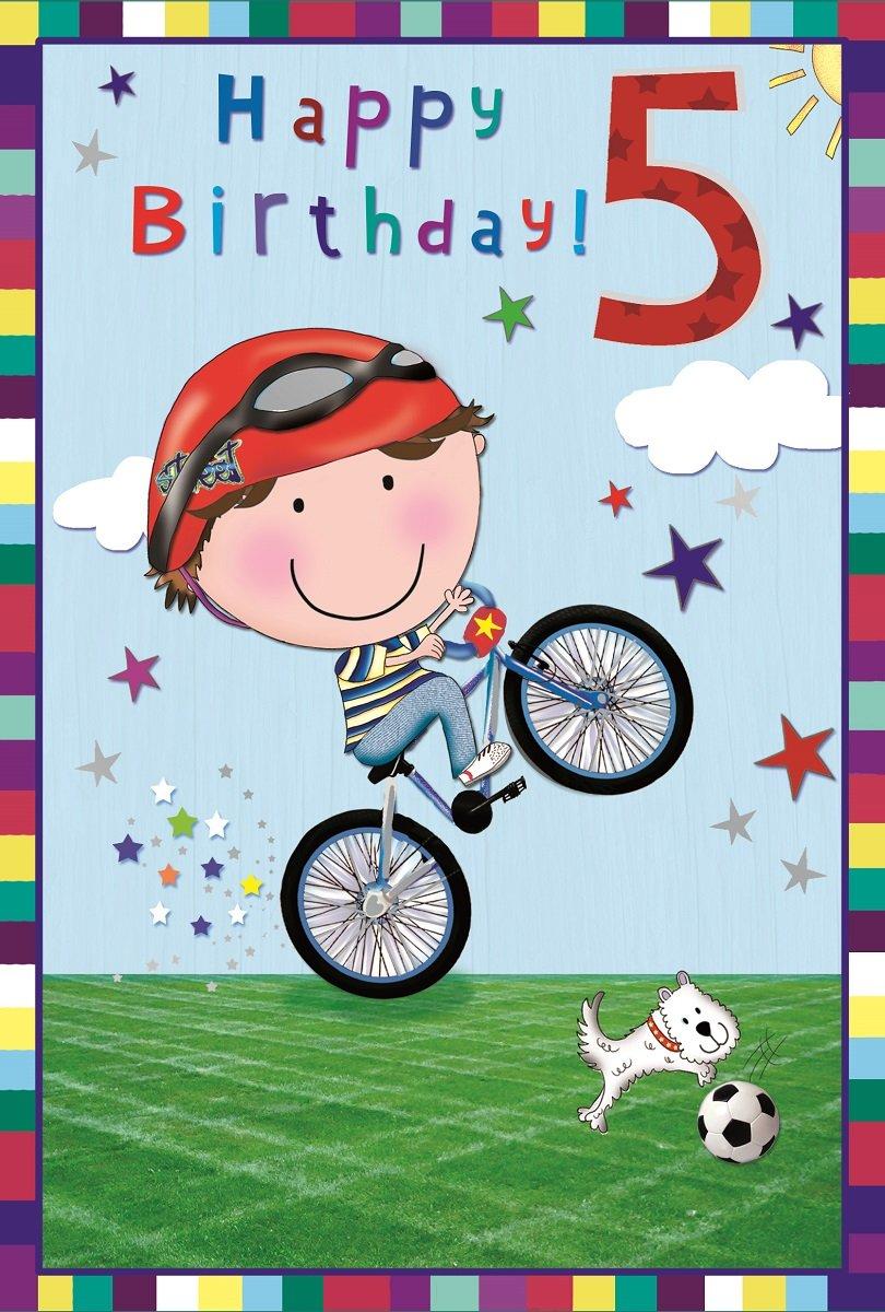VIBRANCE Edad 5 Boy - Tarjeta de felicitación de cumpleaños ...
