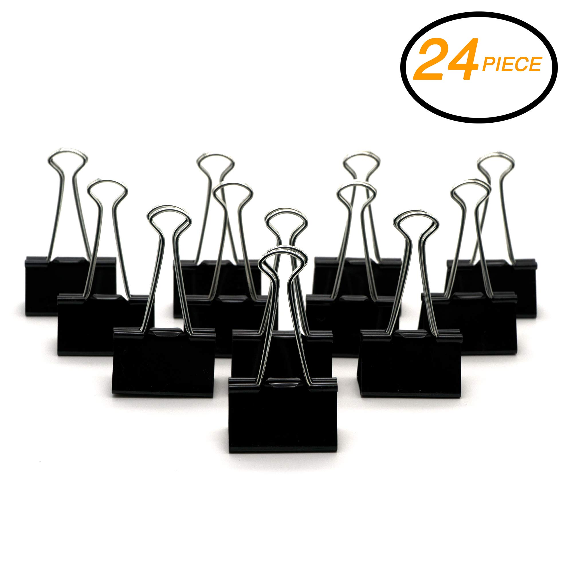 Emraw Large Versatile Black Binder Clip Assorted 2'' (51mm) – for Office, School & Home (24-Pack)