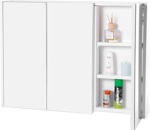 3 Shelves White Wall Mounted Bathroom Mirrored Door Vanity Cabinet Medicine Chest Modern Contemporary MDF Finish Wood Adjustable Shelving Mirror Included