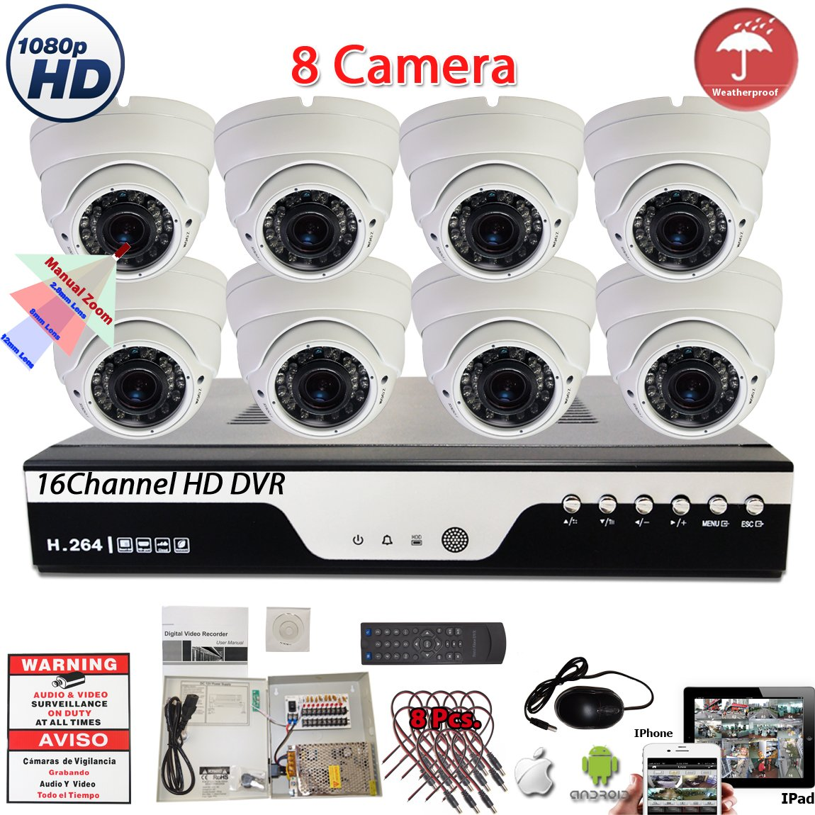 Amazon.com : Evertech 16 Channel H.264 HD DVR 8x 4in1 1080P Manual Zoom AHD TVI CVI Analog Varifocal Easy Remote Access by MobilePhones CCTV Home Security ...
