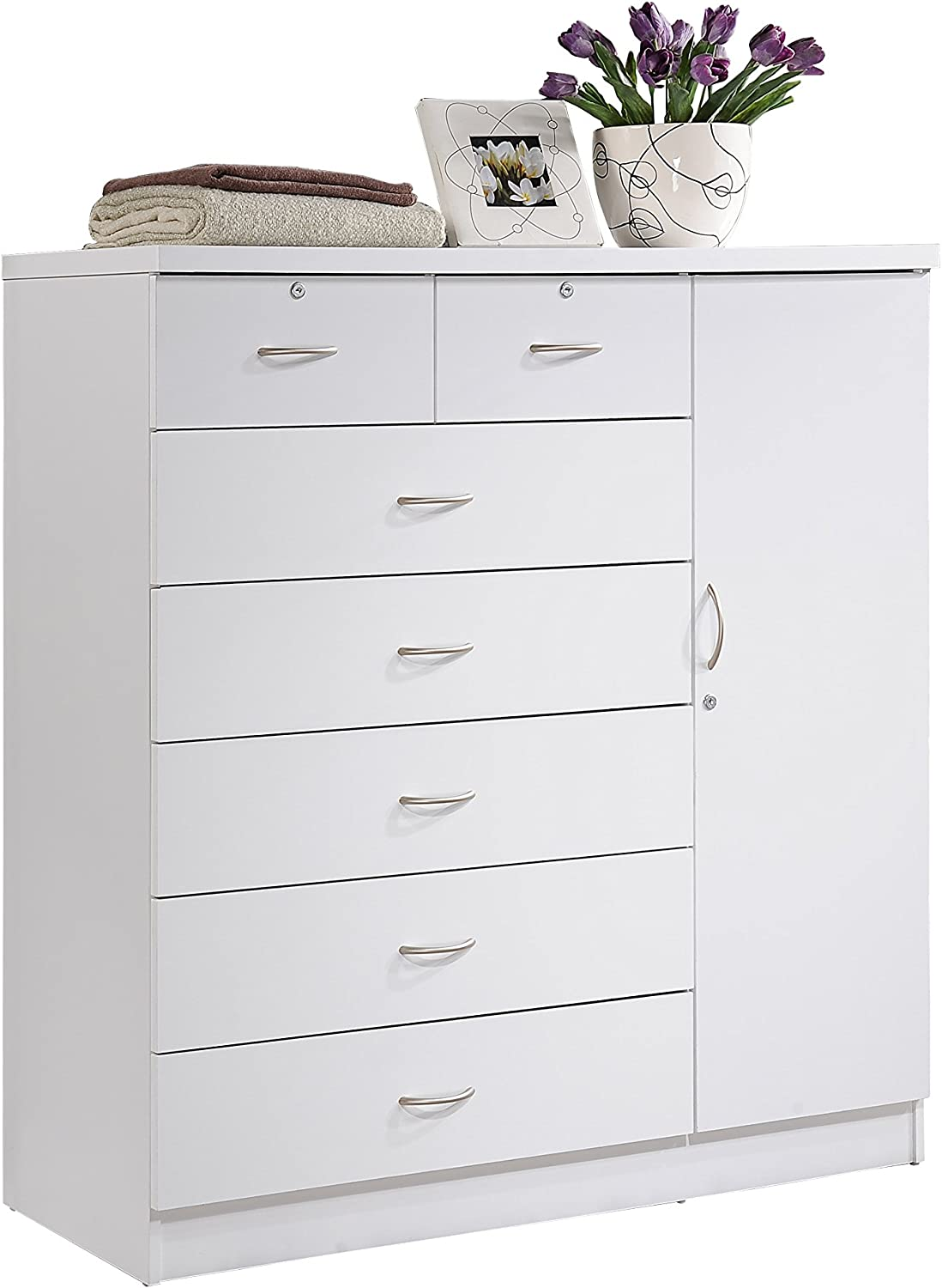 Hodedah 7 Drawer Jumbo Chest, Five Large Drawers, Two Smaller Drawers with Two Lock, Hanging Rod, and Three Shelves | White